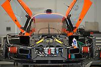Detail: #007 (P1) Aston Martin Racing Lola B09/60, Stefan Mucke, Harold Primat & Adrian Fernandez Car stripped down in the garage area.