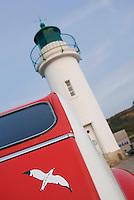 Europe/France/Bretagne/56/Morbihan/Belle-Ile/ Sauzon:  le port - détail du phare