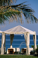 "Iles Bahamas / New Providence et Paradise Island / Nassau : Hotel ""One & Only Océan Club"" tables et auvents dans le parc  // Bahamas Islands / New Providence and Paradise Island / Nassau : Hotel ""One & Only Ocean Club"" tables and awnings in the park"