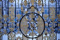 Europe-Asie/Russie/Env Saint-Petersbourg/Tsarkoie Selo: Palais de Catherine - Détail de la grille de la cour d'honneur