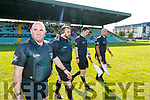 Donnacha O'Callaghan Referee and his team before the Kerry County Senior Hurling Championship Final match between Kilmoyley and Causeway at Austin Stack Park in Tralee