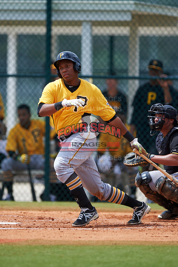 Pittsburgh Pirates Julio De La Cruz (54) during an instructional league intrasquad black and gold game on September 18, 2015 at Pirate City in Bradenton, Florida.  (Mike Janes/Four Seam Images)