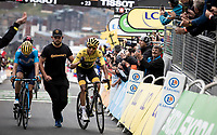 Egan Bernal (COL/Ineos) wins the 2019 Tour by simply staying in a GC group as he crosses the finish line in Val Thorens<br /> <br /> shortened stage 20: Albertville to Val Thorens(59km in stead of the original 130km due to landslides/bad weather)<br /> 106th Tour de France 2019 (2.UWT)<br /> <br /> ©kramon