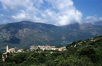 Sainte-Lucie-de-Tallano village nestled in the mountains of Alta Rocca, Corsica, France.