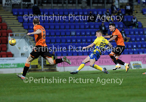 St Johnstone v Dundee United…10.11.20   McDiarmid Park      BetFred Cup<br />Callum Hendry shoots over<br />Picture by Graeme Hart.<br />Copyright Perthshire Picture Agency<br />Tel: 01738 623350  Mobile: 07990 594431