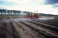 GERMANY, pesticide application in asparagus field in Brandenburg / DEUTSCHLAND, Schaedlingsbekaempfung im Spargelfeld auf Hof Syring in Beelitz