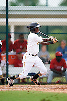 GCL Pirates shortstop Victor Ngoepe (5) at bat during a game against the GCL Phillies on August 6, 2016 at Pirate City in Bradenton, Florida.  GCL Phillies defeated the GCL Pirates 4-1.  (Mike Janes/Four Seam Images)