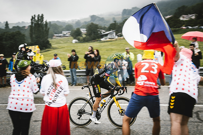 Primoz Roglic (SLO) Jumbo-Visma falls behind during Stage 8 of the 2021 Tour de France, running 150.8km from Oyonnax to Le Grand-Bornand, France. 3rd July 2021.  <br /> Picture: A.S.O./Pauline Ballet   Cyclefile<br /> <br /> All photos usage must carry mandatory copyright credit (© Cyclefile   A.S.O./Pauline Ballet)
