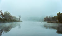Misty morning river, Ottauquechee River, Vermont, USA