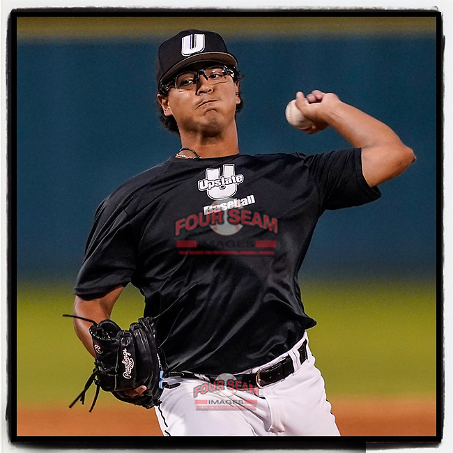 Al Holguin (28) of the University of South Carolina Upstate Spartans pitches in an intrasquad scrimmage during fall practice on Wednesday, September 29, 2021, at Cleveland S. Harley Park in Spartanburg, South Carolina. (Tom Priddy/Four Seam Images)