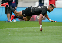 11th October 2020; Sky Stadium, Wellington, New Zealand;  New Zealand's Rieko Ioane goes in to score. Bledisloe Cup rugby union test match between the New Zealand All Blacks and Australia Wallabies.