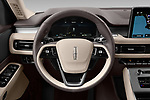 Car pictures of steering wheel view of a 2021 Lincoln Aviator - 5 Door SUV Steering Wheel