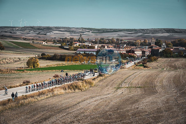 The peloton during Stage 9 of the Vuelta Espana 2020 running 157.7km from B.M. Cid Campeador. Castrillo del Val to Aguilar de Campo, Spain. 29th October 2020.   <br /> Picture: Unipublic/Charly Lopez | Cyclefile<br /> <br /> All photos usage must carry mandatory copyright credit (© Cyclefile | Unipublic/Charly Lopez)