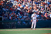 Oregon State Beavers Kyler McMahan (1) takes a lead off third base during an NCAA game against the New Mexico Lobos at Surprise Stadium on February 14, 2020 in Surprise, Arizona. (Zachary Lucy / Four Seam Images)