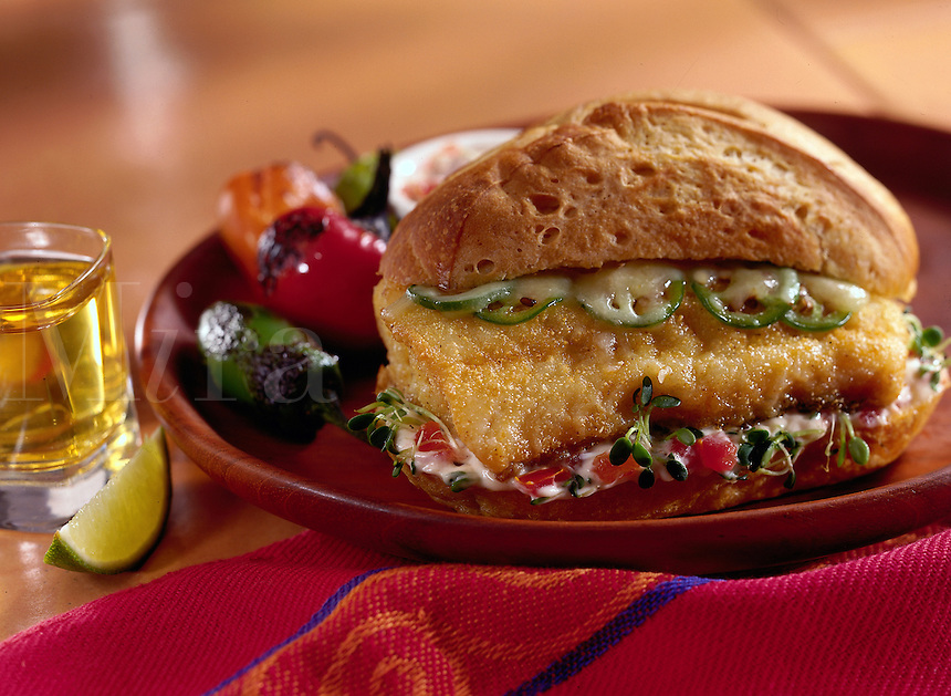 Fried Haddock sandwich with hot peppers.