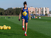 ORLANDO, FL - JANUARY 21: Carli Lloyd #10 of the USWNT warms up during a training session at the practice fields on January 21, 2021 in Orlando, Florida.