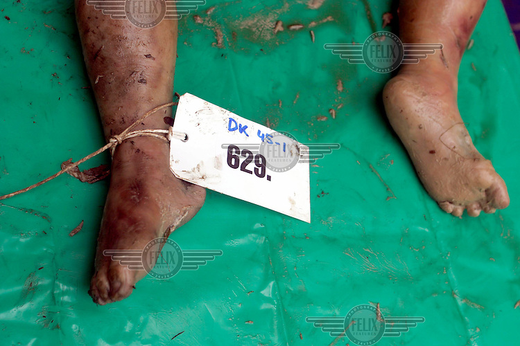 The feet of a person killed in the tsunami which struck South Asia on 26/12/2004, given a number to assist in the identification process.An underwater earthquake measuring 9 on the Richter scale triggered a series of tidal waves which caused devastation when they struck dry land. 12 countries were affected by the tsunami, with a combined death toll of over 150,000. In Thailand many of the victims were Western tourists. © Fredrik Naumann