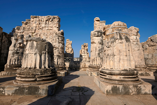 Picture of the ruins of column bases from the Ancient Ionian Greek  Didyma Temple of Apollo & home to the Oracle of Apollo.  Also known as the Didymaion completed circa 550 BC. modern Didim in Aydin Province, Turkey.