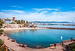 Frankreich, Provence-Alpes-Côte d'Azur, Mandelieu-la-Napoule: Plage de la Raguette und Burg La Napoule | France, Provence-Alpes-Côte d'Azur, Mandelieu-la-Napoule: beach Plage de la Raguette and castle La Napoule
