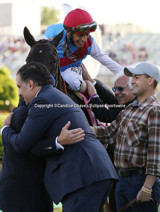 May 01,, 2021:  Medina Spirit owner Amr Zedan embraces assistant trainer Jimmy Barnes, while jockey John Velazquez embraces trainer Bob Baffert after winning the 147th Kentucky Derby at Churchill Downs.  Louisville, KY on May 01, 2021.  Candice Chavez/ESW/CSM