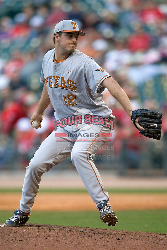 NCAA Baseball featuring the Texas Longhorns against the Missouri Tigers. Workman, Brandon 4325  at the 2010 Astros College Classic in Houston's Minute Maid Park on Sunday, March 7th, 2010. Photo by Andrew Woolley