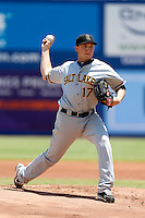 A. J. Schugel #17 of the Salt Lake Bees pitches against the Las Vegas 51s at Cashman Field on May 27, 2013 in Las Vegas, Nevada. Las Vegas defeated Salt Lake, 9-7. (Larry Goren/Four Seam Images)