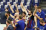 FC Barcelona's Brandon Davies, Nick Calathes, Leandro Bolmaro, Nikola Mirotic and Pau Gasol celebrate during Liga Endesa ACB 1st Final match. June 13,2021. (ALTERPHOTOS/Acero)