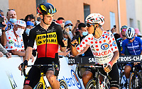 8th July 2021; Nimes, France; VAN AERT Wout (BEL) of JUMBO - VISMA, QUINTANA Nairo (COL) of TEAM ARKEA - SAMSIC during stage 12 of the 108th edition of the 2021 Tour de France cycling race, a stage of 159,4 kms between Saint-Paul-Trois-Chateaux and Nimes.
