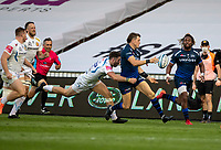 21st August 2020; AJ Bell Stadium, Salford, Lancashire, England; English Premiership Rugby, Sale Sharks versus Exeter Chiefs;  Sam James of Sale Sharks releases the ball to  Marland Yarde of Sale Sharks  under pressure from Exeter