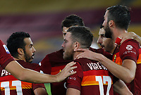 Roma s Jordan Veretout, center, celebrates with his teammate Bryan Cristante after scoring on a penalty kick during the Serie A soccer match between Roma and Benevento at Rome's Olympic Stadium, October 18, 2020.<br /> UPDATE IMAGES PRESS/Riccardo De Luca