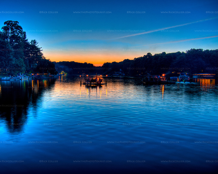 Sunset promises a clear night for Independence Day fireworks on the 4th of July at Lake Thoreau in Reston, Virginia, USA.