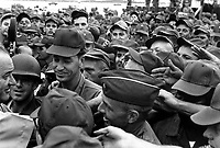 President Lyndon B. Johnson greets American troops in Vietnam, 1966.  (USIA)<br /> EXACT DATE SHOT UNKNOWN<br /> NARA FILE #:  306-SSM-8H-SVN-2-25<br /> WAR & CONFLICT BOOK #:  394