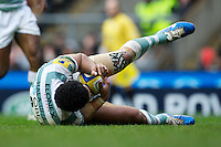 Chris Hala'ufia of London Irish mops up a loose ball during the Aviva Premiership match between Harlequins and London Irish at Twickenham on Saturday 29th December 2012 (Photo by Rob Munro).