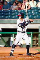 Mississippi Braves Tyler Neslony (2) at bat during a game against the Chattanooga Lookouts on August 04, 2018 at AT&T Field in Chattanooga, Tennessee. (Andy Mitchell/Four Seam Images)