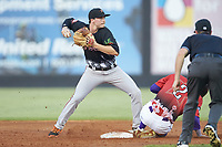 Preston Palmeiro (7) of the Frederick Keys attempts to turn a double play during the 2018 Carolina League All-Star Classic at Five County Stadium on June 19, 2018 in Zebulon, North Carolina. The South All-Stars defeated the North All-Stars 7-6.  (Brian Westerholt/Four Seam Images)