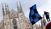FC Internazionale fans celebrate the victory of the 19th Serie A football championship of the club in Piazza del Duomo, in Milano (Italy), May 2nd, 2021.<br /> Photo Daniele Buffa / Image Sport / Insidefoto