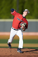 Liberty Flames starting pitcher Mason Hand (25) in action against the Wake Forest Demon Deacons at David F. Couch Ballpark on April 25, 2018 in  Winston-Salem, North Carolina.  The Demon Deacons defeated the Flames 8-7.  (Brian Westerholt/Four Seam Images)