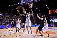 New Zealand Tall Blacks' Jordan Ngatai and Jordan's Ahmad Alhamarsher in action during the FIBA World Cup Basketball Qualifier - NZ Tall Blacks v Jordan at Horncastle Arena, Christchurch, New Zealand on Thursday 29 November  2018. <br /> Photo by Masanori Udagawa. <br /> www.photowellington.photoshelter.com