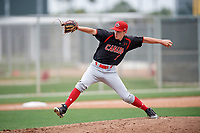 Relief pitcher Wesley Moore (8) of the Canada Junior National Team delivers a pitch during an exhibition game against a Boston Red Sox minor league team on March 31, 2017 at JetBlue Park in Fort Myers, Florida.  (Mike Janes/Four Seam Images)