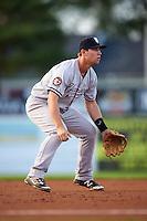Staten Island Yankees third baseman Drew Bridges (18) during a game against the Batavia Muckdogs on August 27, 2016 at Dwyer Stadium in Batavia, New York.  Staten Island defeated Batavia 13-10 in eleven innings.  (Mike Janes/Four Seam Images)