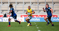 13th September 2020; AJ Bell Stadium, Salford, Lancashire, England; English Premiership Rugby, Sale Sharks versus Bath;  Jonathan Joseph of Bath Rugby  looks for a gap in the Sale line