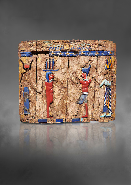 Ancient Egyptian fragments of a small wooded glass inlayed box depicting Egyptian Pharaohs , Ptolemaic Period, (322-30BC) BC, Tebtynis. Egyptian Museum, Turin. Cat 18155.  Grey background.