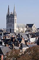 Europe/France/Pays de la Loire/49/Maine-et-Loire/ Angers: La cathédrale St-Maurice vue depuis  la Tour du Moulin du Château