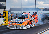 Jul 11, 2020; Clermont, Indiana, USA; NHRA funny car driver Blake Alexander during qualifying for the E3 Spark Plugs Nationals at Lucas Oil Raceway. This is the first race back for NHRA since the start of the COVID-19 global pandemic. Mandatory Credit: Mark J. Rebilas-USA TODAY Sports