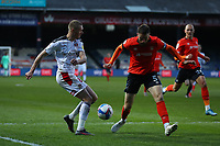 4th May 2021; Kenilworth Road, Luton, Bedfordshire, England; English Football League Championship Football, Luton Town versus Rotherham United; Sonny Bradley of Luton Town blocks the cross by Michael Smith<br />
