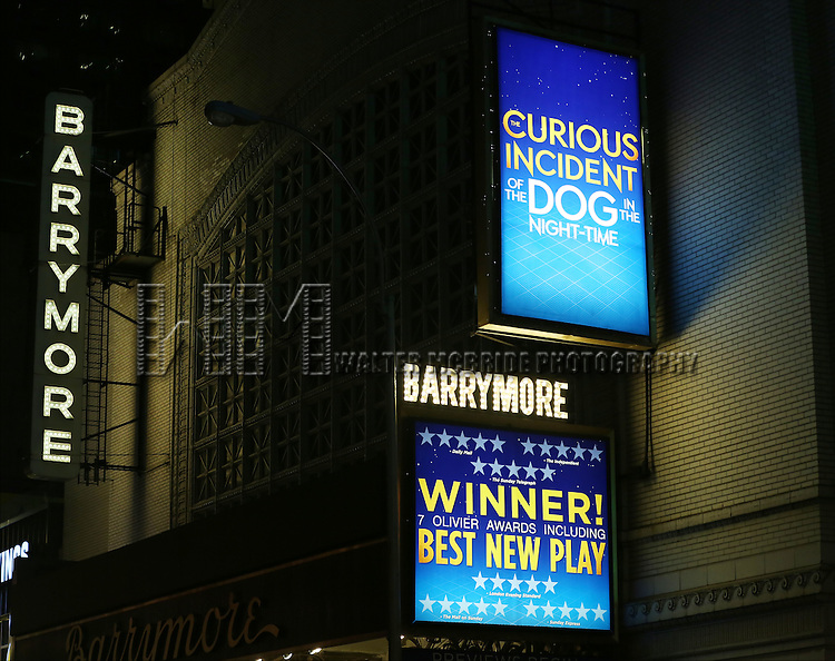 Theatre Marquee for  the Broadway Opening Night Performance of 'The Curious Incident of the Dog in the Night-Time'  at the Barrymore Theatre on October 5, 2014 in New York City.