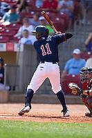 Cedar Rapids Kernels outfielder Romy Jimenez #11 bats during a game against the Lansing Lugnuts at Veterans Memorial Stadium on April 30, 2013 in Cedar Rapids, Iowa. (Brace Hemmelgarn/Four Seam Images)