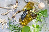 Knoblauchsrauke-Öl, Knoblauchsraukeöl, Knoblauchsrauken-Öl, Knoblauchsraukenöl, Öl, Olivenöl mit Knoblauchsrauke Wurzel, Wurzeln, Blatt, Blätter, Schote, Schoten, Heilöl, Knoblauchsrauke, Gewöhnliche Knoblauchsrauke, Knoblauchrauke, Knoblauch-Rauke, Knoblauchs-Rauke, Lauchkraut, Knoblauchskraut, Knoblauchhederich, Knoblauchshederich, Alliaria petiolata, Hedge Garlic, Jack-by-the-Hedge, Garlic Mustard, garlic root, Oil, Alliaire, L'Alliaire officinale, Herbe à ail