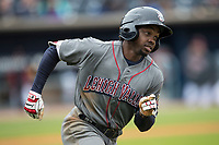 Lehigh Valley IronPigs outfielder Roman Quinn (2) runs to first base against the Toledo Mud Hens during the International League baseball game on April 30, 2017 at Fifth Third Field in Toledo, Ohio. Toledo defeated Lehigh Valley 6-4. (Andrew Woolley/Four Seam Images)