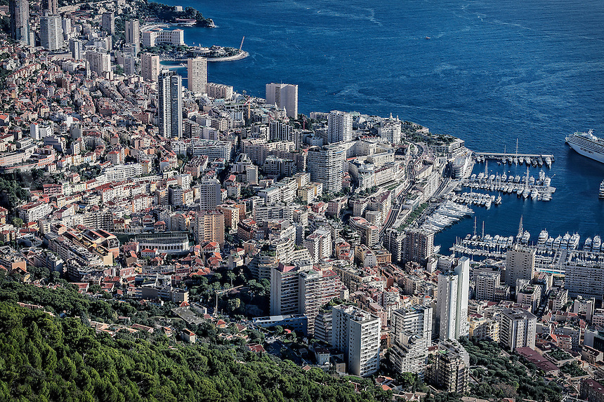 Areial view of downtown Mote Carlo, Monaco